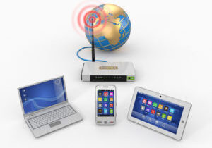 Home wifi network. Internet via router on phone, laptop and tablet pc. 3d